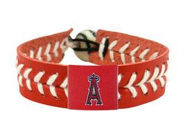 MLB LA Los Angeles Angels Team Color Leather Baseball Bracelet - $12.99