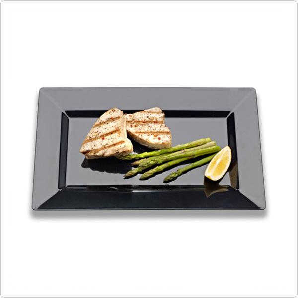 Black 8 Inch Plastic Rectangular Plates/Set of 120