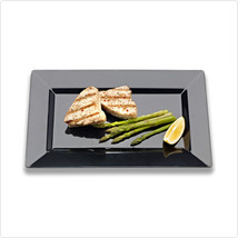 Black 8 Inch Plastic Rectangular Plates/Set of 120 - £121.99 GBP