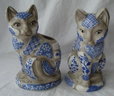 Vtg Pair Nancy Lopez 1981 Cat Candle Holder Blue White Shard Pottery Quilt Style