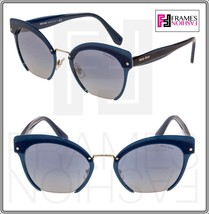Miu Miu Rasoir Reveal 53T Layers Navy Blue Gold Cat Eye Flat Sunglasses MU53TS - $232.65
