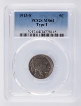 1913-S Buffalo Nickel Type I 5C Graded by PCGS as MS-64 - $257.39