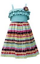 Bonnie Jean Little Girl 4-6X Aqua-blue Multi Ruffle Knit To Dots-in-a-row Print