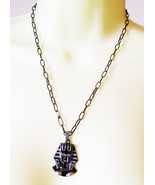 "Black EGYPTIAN Queen NECKLACE steel pendant 20"" chain fantasy jewelry - $6.99"
