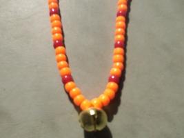 HUNTING SEASON ~ HORSE RHYTHM BEADS ~ Blaze Orange, Red ~ Size 54 Inches - $17.00
