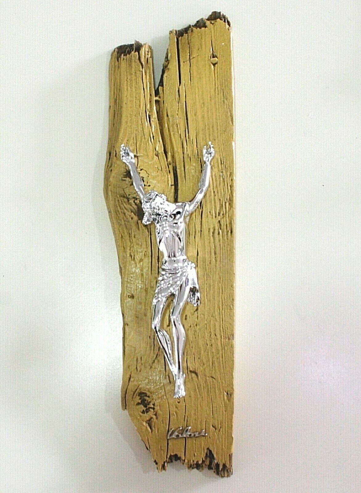 STYLIZED WALL CRUCIFIX, YELLOW PAINTED WOOD BEAM, CHRIST, 16.5 INCHES ITALY MADE
