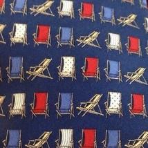 TOMMY HILFIGER Mens Tie 100% Silk Beach Chair Summer Navy Red - $9.50