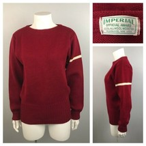 1960s Pullover Sweater / Burgundy Stripe Wool Letterman Sweater / Small - $69.00