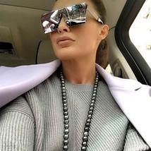 Diseñador Gafas de Sol de Gran Tamaño Lente Espejada Parte Superior Plana - $8.56+