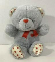 MTY International vintage plush Valentine's Day teddy bear gray white re... - $14.84
