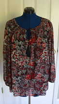 Jones New York Woman Peasant Top Tunic 2X Floral Smocked Red NWT - $39.95
