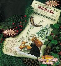 Cross Stitch Wildlife Moose Eagle Wolf Stocking O Christmas Tree Snowman Pattern - $11.99