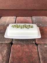 Vintage Pyrex Crazy Daisy Spring Blossom Green Print Butter Dish  - $7.19