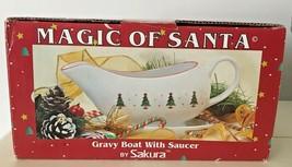DEBBIE MUMM MAGIC OF SANTA GRAVY BOAT WITH SAUCER BY SAKURA IN BOX - $13.46
