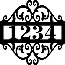 "Scrolled Address Sign 12"" Metal Wall Art Black Satin - $39.98"