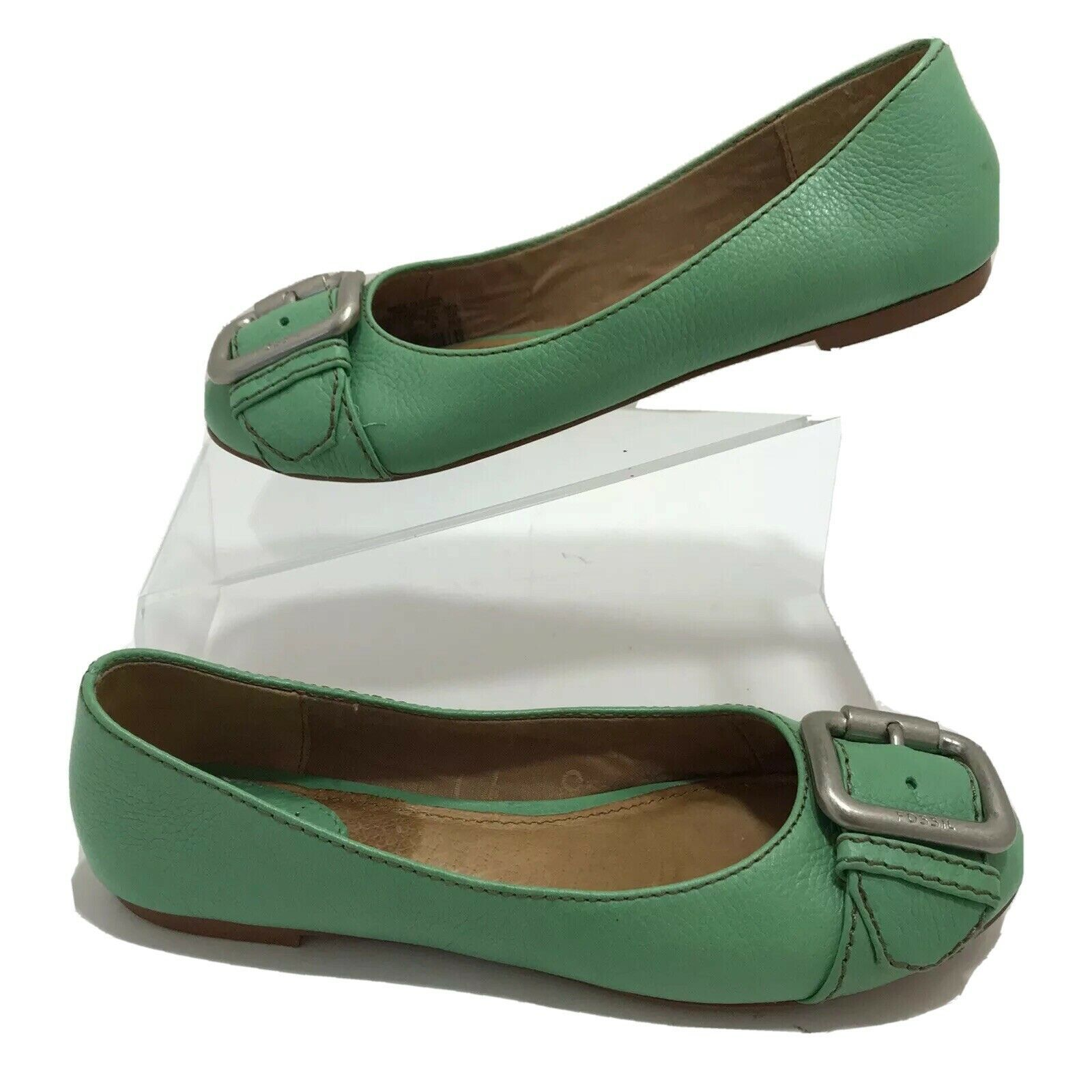 Primary image for Fossil Womens Ballet Flats Green Leather Front Pewter Buckle SlipOn Shoe 6