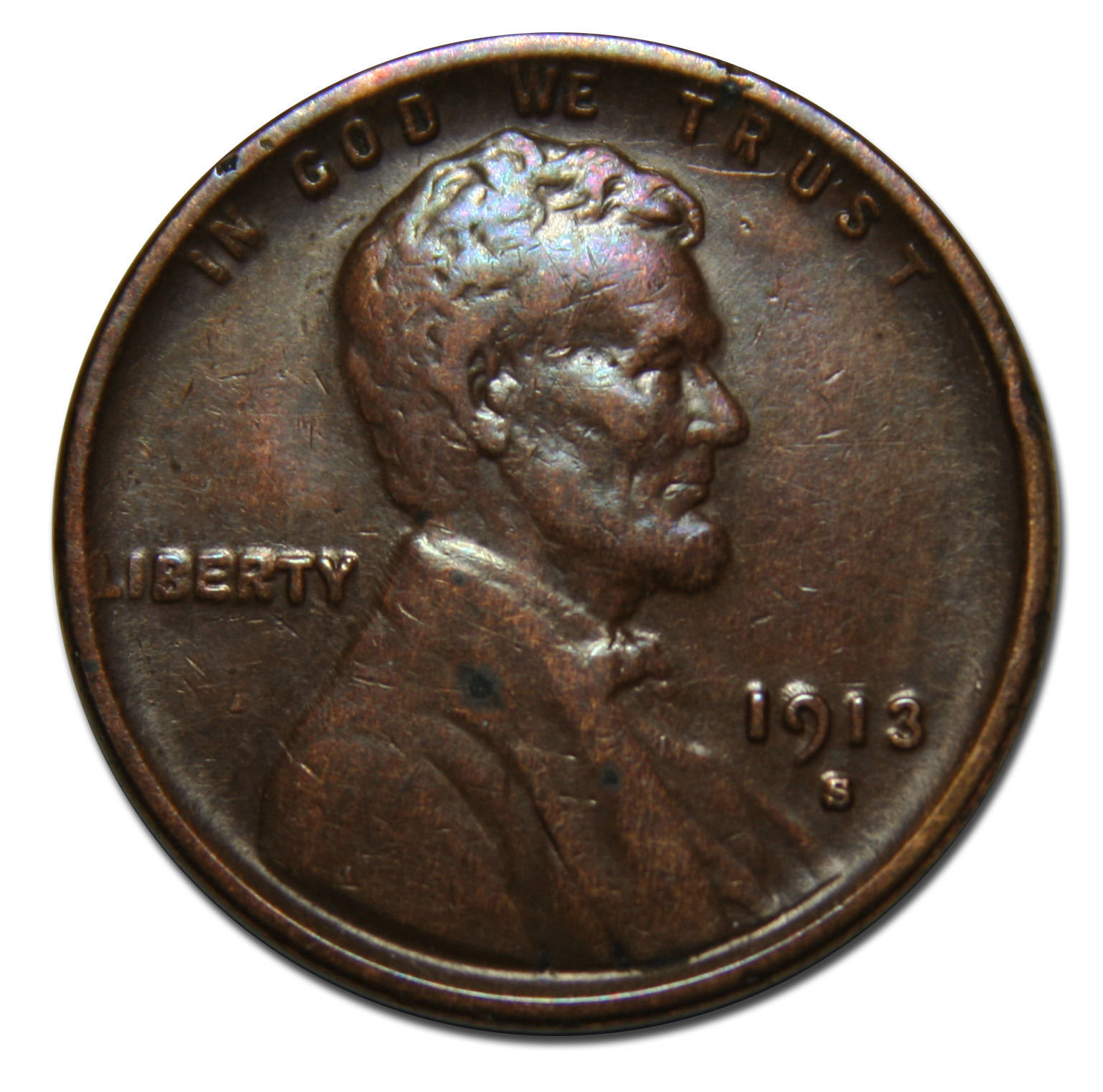 1913S One Cent Lincoln Head Penny Coin Lot# MZ 3474