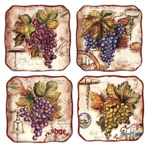 Vintners Journal 4-Piece Traditional Multi-Colored Ceramic Salad Plate S... - $61.01