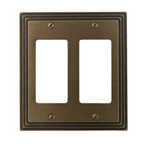 Amerelle Steps 4 Decora 2-Gang Rocker Wall Plate - Rustic Brass Cast Met... - $12.86