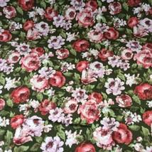 "Vtg Waverly Bonded Fabric Latin Quarter Pink Green Floral 48"" Wide X 108... - $37.61"