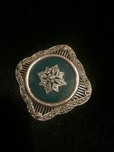 Vintage 40s sterling silver filigree, green stone & hematite brooch pendant