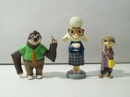 Lot Of 3 Disney Zootopia Pvc Figures Bellwether, Flash Sloth & Mrs Otterton - $12.69