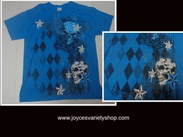 Skulls Gildan T-Shirt Unisex Blue NWOT Adult SZ Large Free Shipping - $11.99