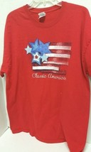 Red T-Shirt  with picture of American Flag and Classic American Size XL - $13.98