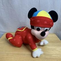 Disney Touch-n-Crawl Baby Mickey Mouse Mattel 1999 Crawling Musical Plush - $11.15