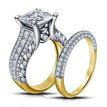Princess Cut White CZ Yellow Gold Finish 925 Silver Bridal Engagement Ring Set - $96.85