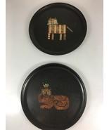 Couroc Black Trays Lot 2 Lion Tiger Cat Inlaid Mid-Century Modern MCM Ro... - $47.04