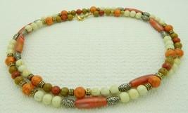 VTG NAPIER Signed Off White Orange Colored Gold Tone Beaded Necklace - $19.80