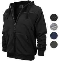 Vertical Sport Men's Quilted Moto Sherpa Fleece Lined Zip Up Hoodie Jacket PF120