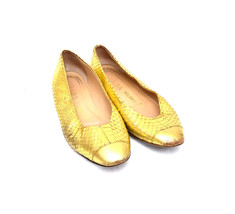 PRADA Gold-tone Python Flats - Shoes / US 7.5 - $58.41
