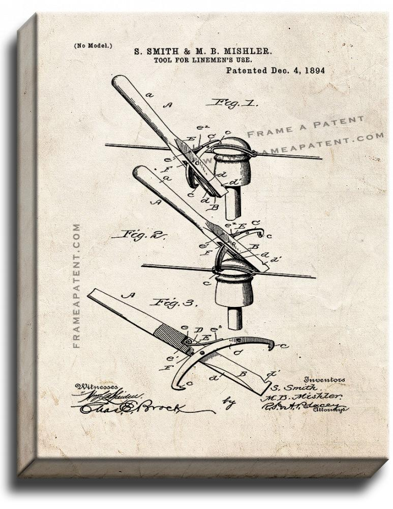 Primary image for Tool For Lineman's Use Patent Print Old Look on Canvas