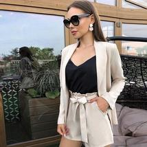 Solid High Quality Formal Blazer Shorts Suit