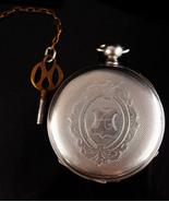Antique silver Pocketwatch - original key - Monogrammed letter A - 4  ru... - $225.00
