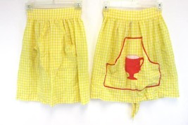 Lot of 2 Handmade Aprons Sunny Spring Yellow Plaid With Pockets Waist Tie - $11.88