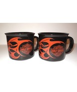Harley-Davidson Set of Two (2) Mug Flames Black Orange 2004 Coffee Soup - $20.00