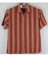 Tommy Bahama Mens Medium Button Up Embroidered Shirt Copper 100% Silk (E6) - $32.73