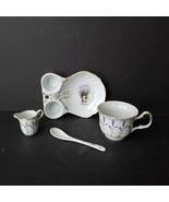 Royal Alfreda Lavender Porcelain Tea Set 4 Piece Tray Cup Spoon Creamer - $34.99