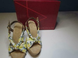 NIB Aerosoles Memory Foam Comfort Cork Wedge Floral Fabric 7-10 M Org $69 - $20.63