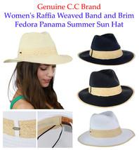 Genuine C.C Women's Raffia Weaved Band and Brim Fedora Panama Summer CC ... - $15.99