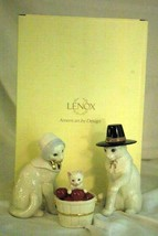 Lenox 2019 Feline Pilgrim Family 3 Piece Figurine Set NIB Thanksgiving - $53.99