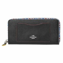 NWT Coach Black Accordion Zip Leather Wallet w/Edgepaint Design Style F2... - $182.40
