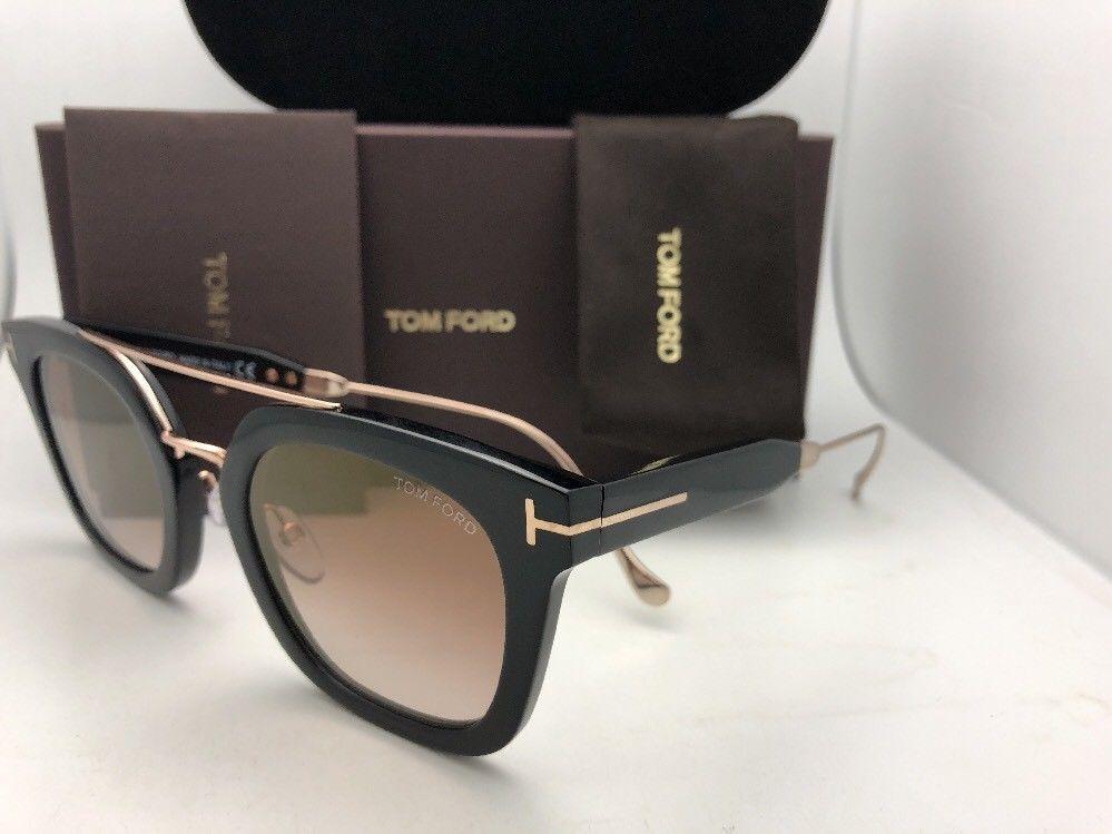 New TOM FORD Sunglasses ALEX-02 TF 541 01F 51-25 145 Black & Gold w/Brown+Mirror