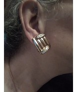 VINTAGE CLIP GOLDTONE BUTTON EARRINGS GOLDEN BARS W/ RHINESTONE ACCENT - $25.00