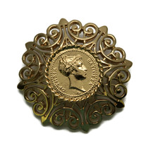 """Vintage Monet Signed Greek Cameo Gold Toned Costume Jewelry Brooch Pin 2"""" - $13.98"""