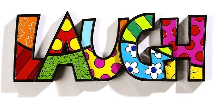 "Romero Britto the word ""LAUGH"" Table Shelf Decor NEW"
