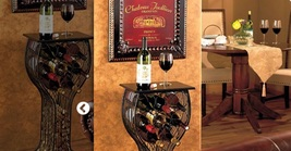 Wine Storage & Serving Table Wine Glass Shaped Metal & Wood Holds 8 Bottles - $55.98